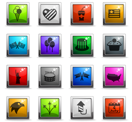 independence day vector icons in square colored buttons