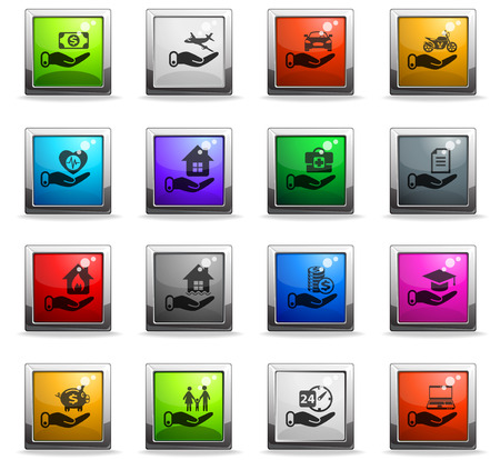 insurance vector icons in square colored buttons for web and user interface design Stock Illustratie