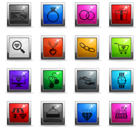 jewerly store web icons in square colored buttons for user interface design
