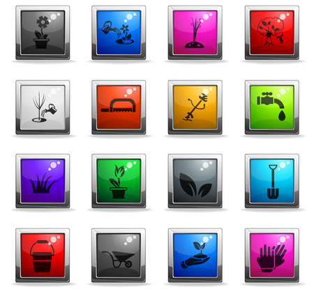 landscape design web icons in square colored buttons for user interface design