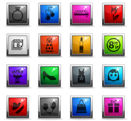 8 march web icons in square colored buttons