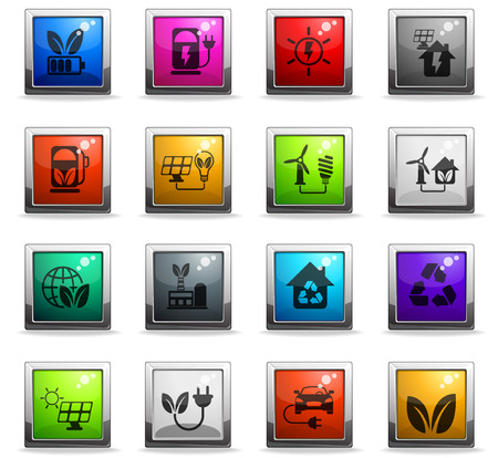 alternative energy vector icons in square colored buttons