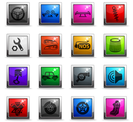 auto tuning web icons in square colored buttons Stock Vector - 112142497