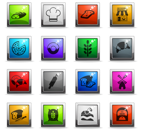bakery web icons in square colored buttons Illustration