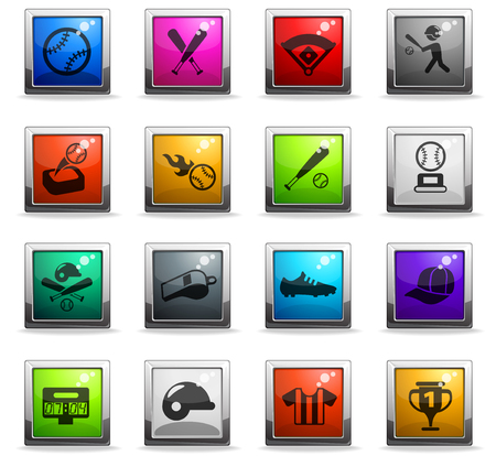 baseball vector icons in square colored buttons