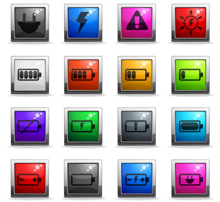 battery vector icons in square colored buttons