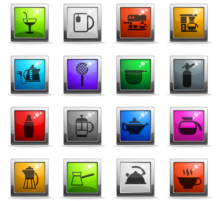 utensils for beverages vector icons in square colored buttons