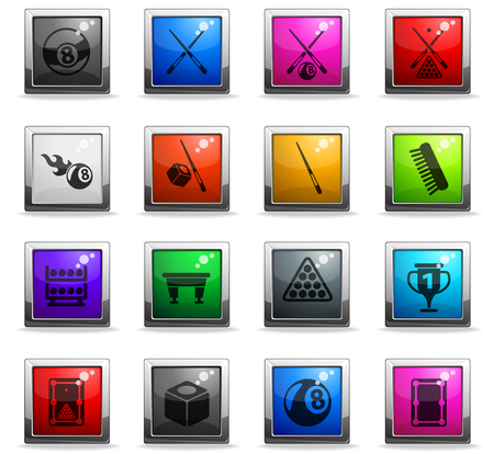 billiard vector icons in square colored buttons