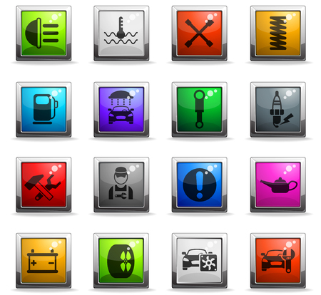 car service vector icons in square colored buttons