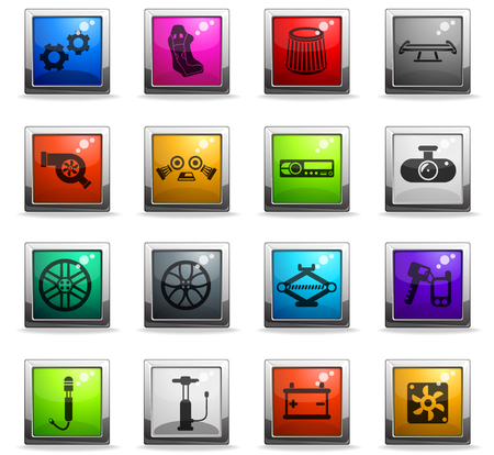 car shop vector icons in square colored buttons