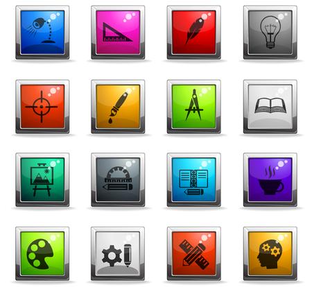 Iconos de sitio web creativo en botones cuadrados de color Foto de archivo - 106046872