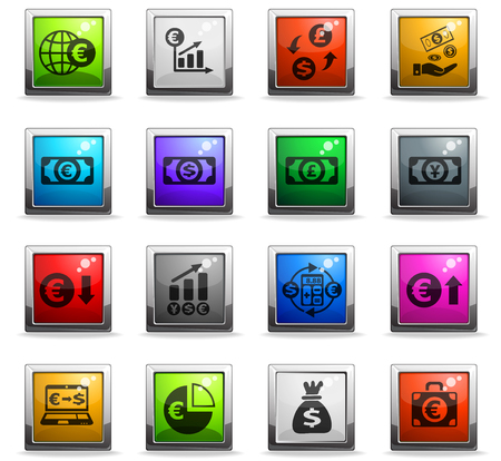 currency exchange web icons in square colored buttons