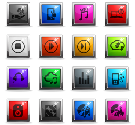 digital music web icons in square colored buttons Иллюстрация