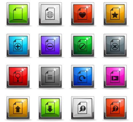 document vector icons in square colored buttons 向量圖像