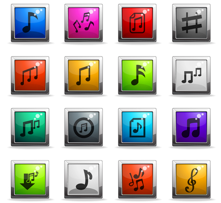 musical notes web icons in square colored buttons for user interface design