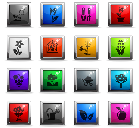 plants measuring tools web icons in square colored buttons for user interface design