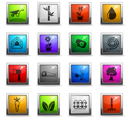 plants vector icons in square colored buttons for web and user interface design