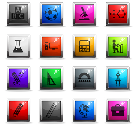 school vector icons in square colored buttons for web and user interface design Illustration