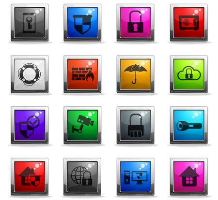 security vector icons in square colored buttons for web and user interface design Standard-Bild - 112146173