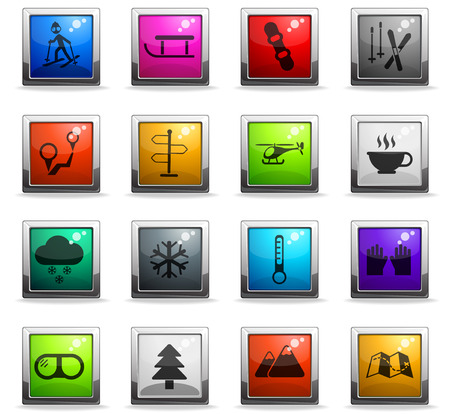 skiing vector icons in square colored buttons for web and user interface design