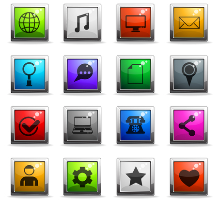 social media vector icons in square colored buttons for web and user interface design