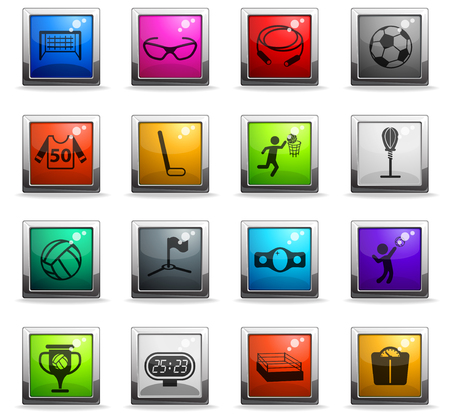 sport vector icons in square colored buttons for web and user interface design