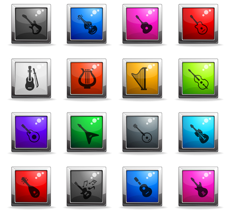 string instruments web icons in square colored buttons for user interface design