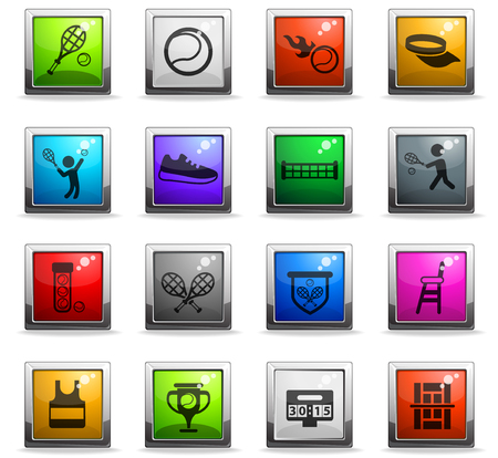tennis vector icons in square colored buttons for web and user interface design