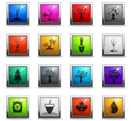 trees measuring tools web icons in square colored buttons for user interface design Illustration
