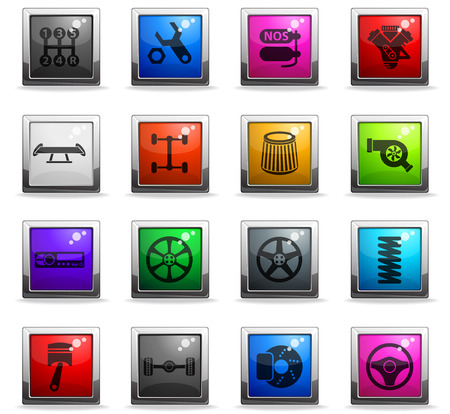 auto tuning vector icons in square colored buttons for web and user interface design