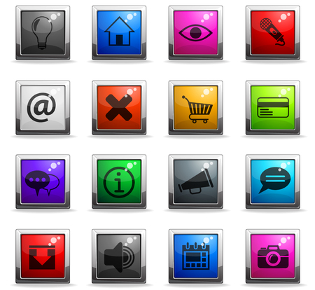 user interface web icons in square colored buttons for user interface design Illustration