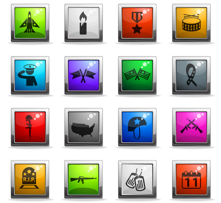 veterans day vector icons in square colored buttons for web and user interface design