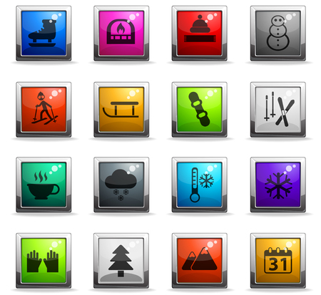 winter vector icons in square colored buttons for web and user interface design Ilustracja