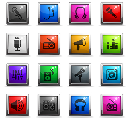 musical equipment web icons in square colored buttons for user interface design Illustration