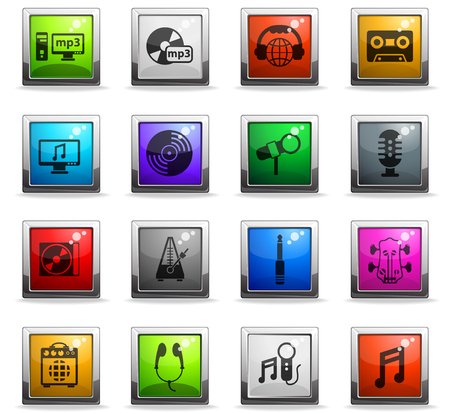 music vector icons in square colored buttons for web and user interface design