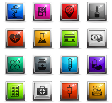 drug store vector icons in square colored buttons Illustration