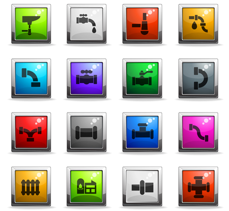 duct web icons in square colored buttons Illustration
