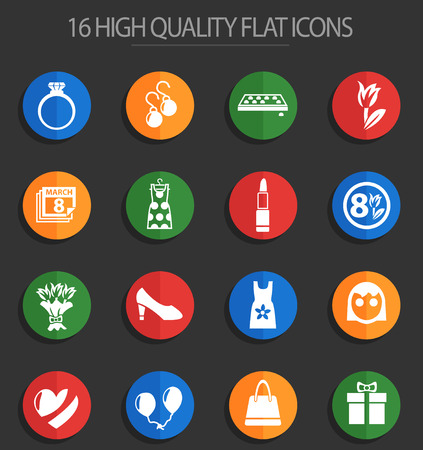 8 march web icons for user interface design Çizim