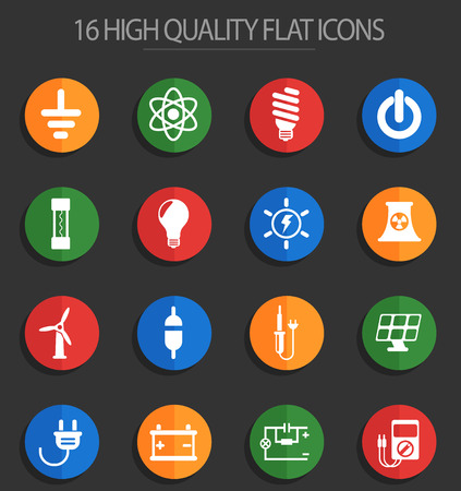 electricity vector icons for web and user interface design