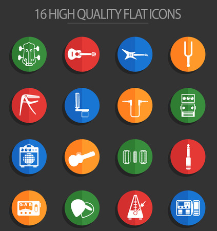 guitar and accessories web icons for user interface design Illustration
