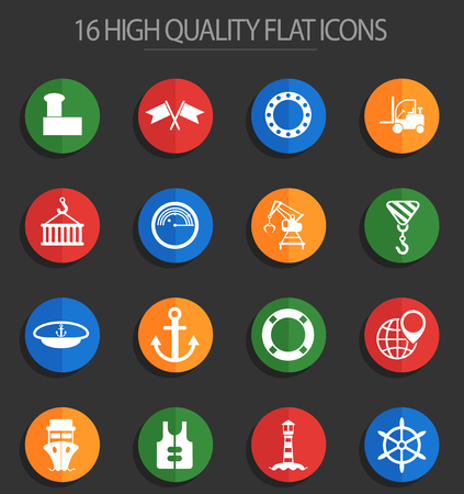harbor vector icons for web and user interface design Illustration