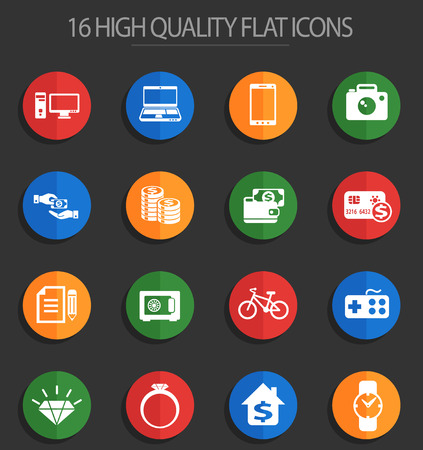 pawn shop vector icons for web and user interface design