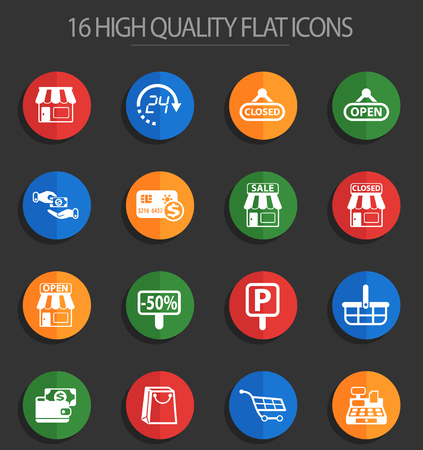shop vector icons for web and user interface design Zdjęcie Seryjne - 112146376