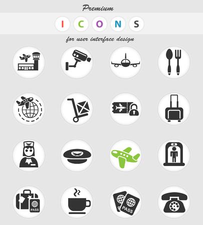 iconos de la web del aeropuerto para el diseño de la interfaz de usuario
