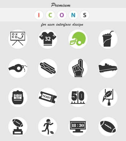 american football vector icons for user interface design