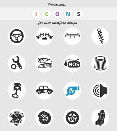 auto tuning web icons for user interface design 矢量图片