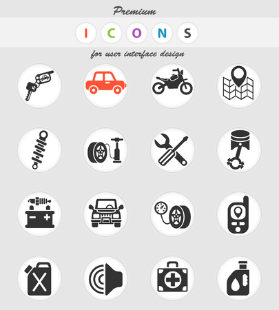 car shop web icons for user interface design