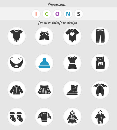 baby clothes vector icons for user interface design
