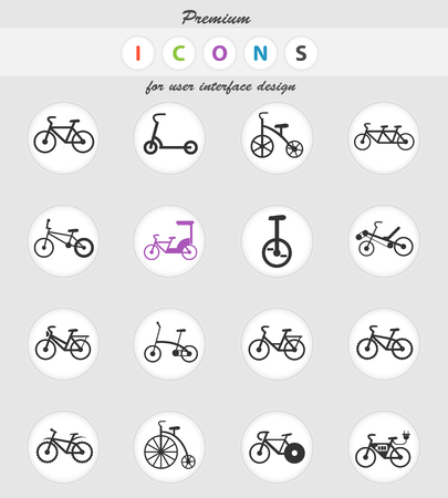 bicycle types web icons for user interface design