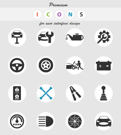 car service vector icons for user interface design